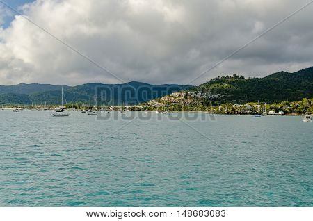 Sailboats in front of Airlie Beach in Queensland Australia.