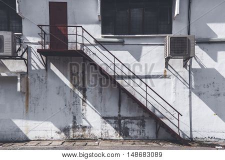 A vintage design of steel stairs of a building