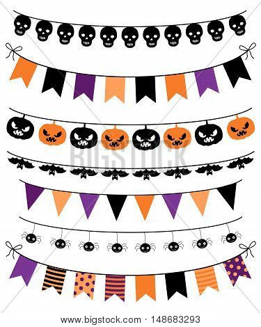 Vector banners, bunting and garlands for Halloween