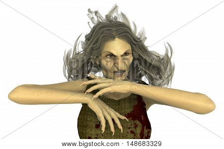 3D Illustration Old Witch isolated on white