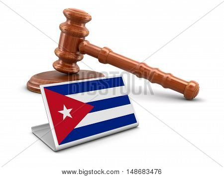 3D Illustration. 3d wooden mallet and Cuban flag. Image with clipping path