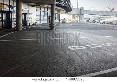 Bus Stop In European Airport, Road Marking