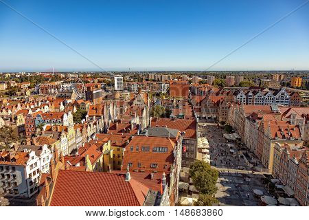 The view from above on Old Town in Gdansk Poland.