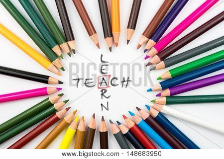 Colouring Pencils In Circle Arrangement With Message Teach Learn