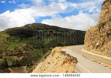 Broken road in the peruvian mountains near Cajamarca