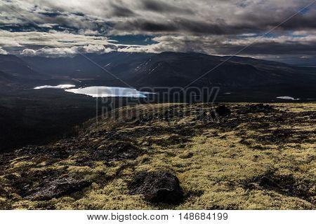 Goltsovoye panorama of the lake, Murmansk region, Russia