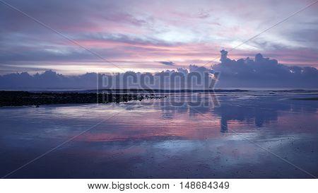 Sunrise over the sea. Sunrise on foreground