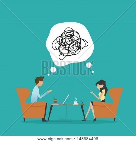 vector illustration of two people confusing talking confusing scribble line in bubble bad communication at the cafe