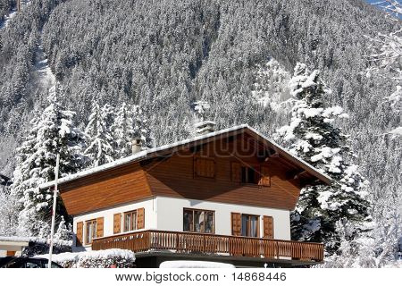 Traditional alpine cabin in the mountains of Chamonix French Alps