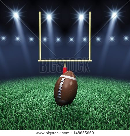 American football stadium , ball , goal post and floodlights , Sport arena , 3d illustration
