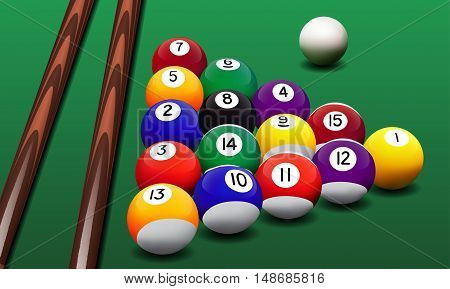 Vector realistic billiard balls and cues on the green table.