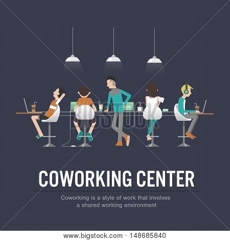 vector illustration of coworking center concept people talking meeting in coffee shop working togetherShared working