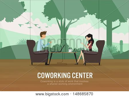 vector illustration of coworking center concept people talking meeting in coffee shop with garden view