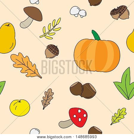 Seamless Background with Fall leaves. fruits and Mushrooms.
