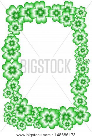 frame of the green four-leaf clovers suitable for St. Patrick's feast
