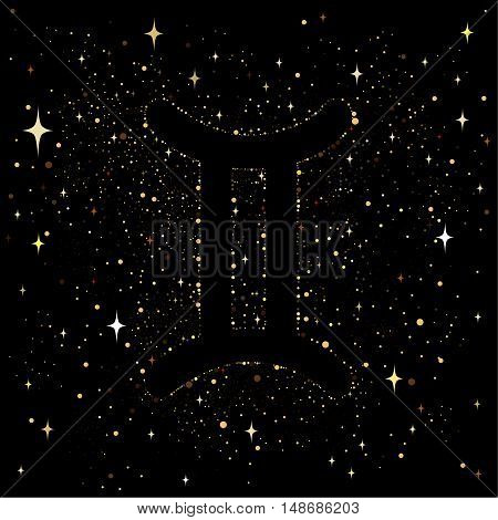 Starry sky with an image of the zodiac sign Gemini with colorful stars on a black background.