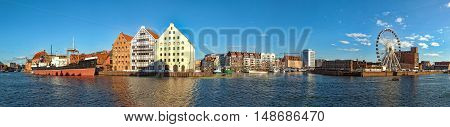 View across the Motlawa River to panorama of Gdansk Poland.