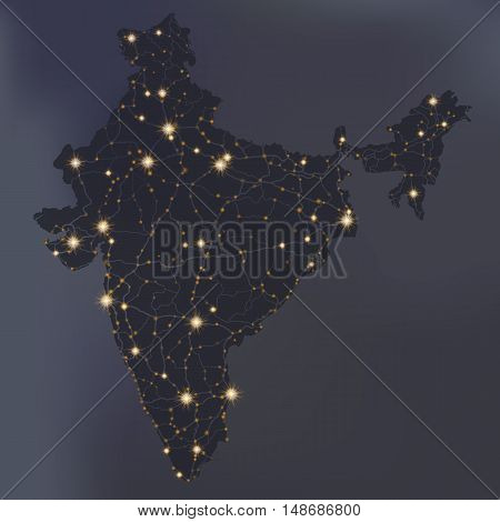 Night political map of India with city lights, dark blue