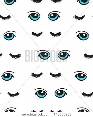 Cartoon blue eyes seamless pattern. Vector background with doodle eyes and lashes isolated on white.