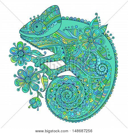 Vector illustration with a chameleon and beautiful patterns in blue and green shades.