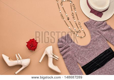 Autumn Fashion woman Clothes Accessories Set. Design fashion Concept. Stylish Lady Dress, Glamor Heels Hat Rose. Trendy fashion Design. Top view. Fall Fashion Outfit. Vintage.Creative Overhead Minimal
