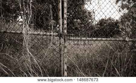 old metal fence in sepia style border concept