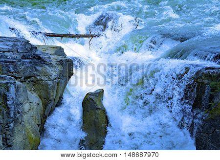 Sunwapta Falls from Sunwapta River in National Park Jasper, Alberta, Canada