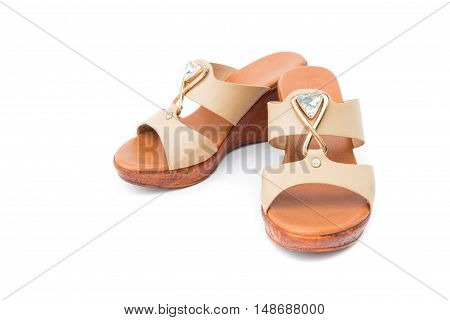 Brown heels shoes color on white background clothing and fashion concept