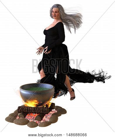 3D Illustration old witch cooks a potion in a cauldron