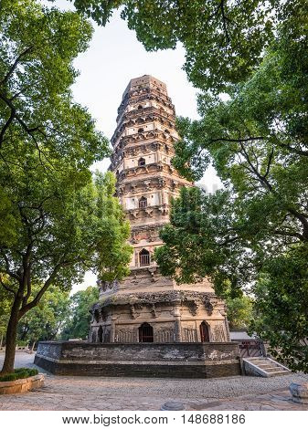 Suzhou, China - October 23,2016: Tiger Hill Pagoda (Yunyan Pagoda) on the Tiger Hill in Suzhou city Jiangsu Province of Eastern China. It is nicknamed the Leaning Tower of China.