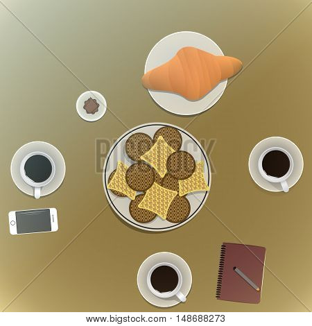 Coffee Time Friends Socialize Enjoyment Concept. vector