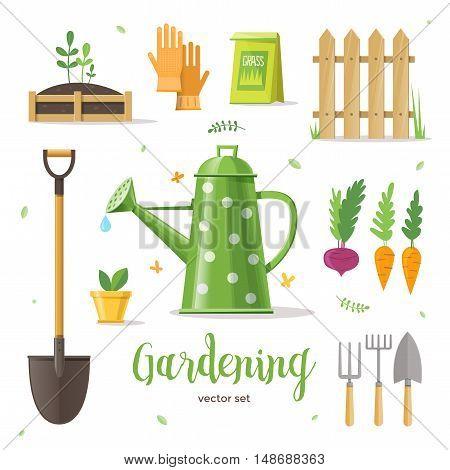 Gardening. Set of objects for the garden. Shovel, gloves, watering can, vegetables, fence, seedlings. Vector illustration EPS 10