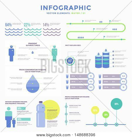 Collection infographic vector elements. Water in human life. Use in website, flyer, corporate report, presentation, advertising, marketing etc.