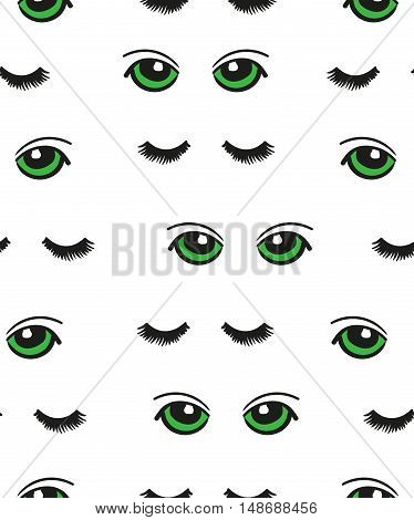 Cartoon green eyes seamless pattern. Vector background with doodle eyes and lashes isolated on white.