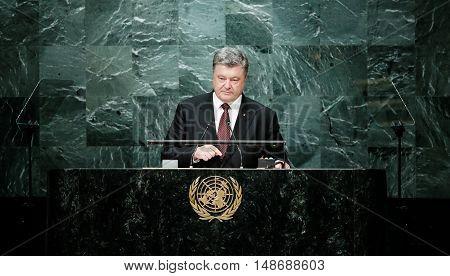 President Of Ukraine Petro Poroshenko At Un General Assembly