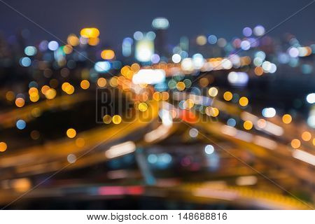 Abstract blurred lights city and highway intersection night view