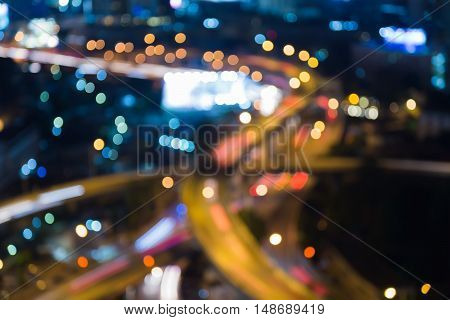 Blurred bokeh lights city road night view, abstract background