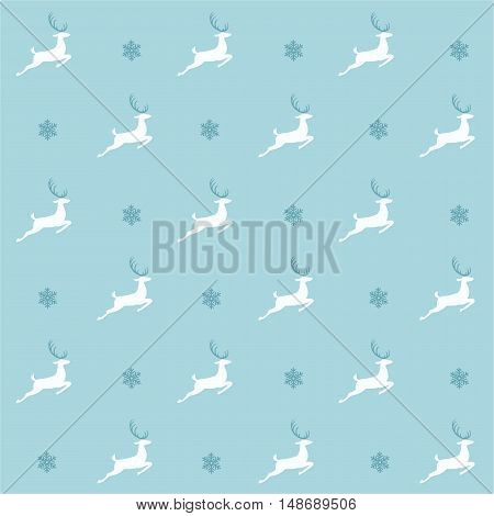 Christmas pattern, seamless design. Merry Christmas card decoration. Happy New Year ornament. Vintage blue graphics of deer and snowflake. Hand drawn vector icons for holiday sale and celebration.
