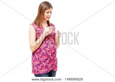 Pregnant Woman Lighting A Cigarette