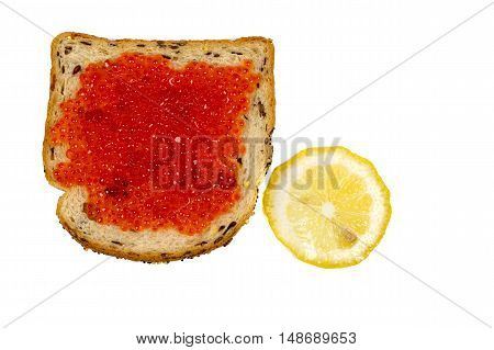 Sandwich with caviar and lemon on white background