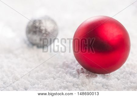 Christmas Background With A Red, Gray Balls And Snowflakes