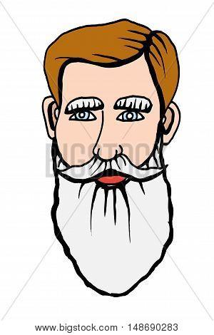 Vector hand drawn portrait of bearded man. Vector