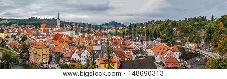 Panorama of Cesky Krumlov from castle hill Czech republic