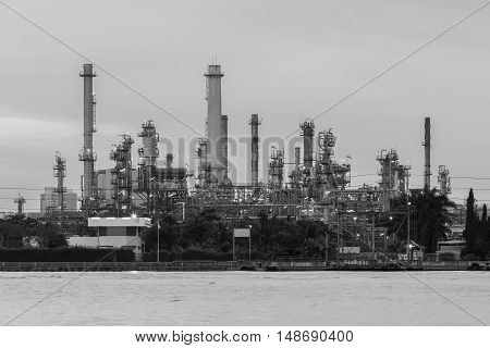 Black and White, Oil refinery water front, industrial background