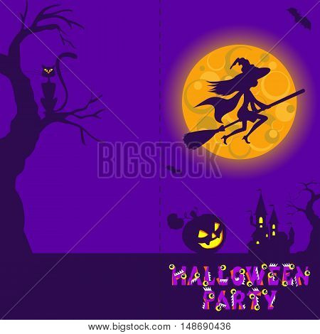 Halloween illustration of mysterious night landscape with castle and full moon. Template for your design with space for text.