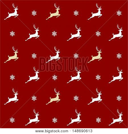 Christmas pattern, seamless design. Merry Christmas card decoration. Happy New Year ornament. Vintage red graphics of deer and snowflake. Hand drawn vector icons for holiday sale and celebration.