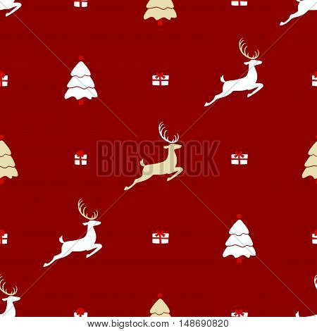 Christmas pattern, seamless design. Merry Christmas card decoration. Happy New Year ornament. Vintage grey graphics of deer and gift box. Hand drawn vector icons for holiday sale and celebration.