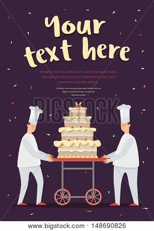 The poster with the cake and chefs. Confectioners and cake, colored pictures. Confectioners cake show. Vector illustration.