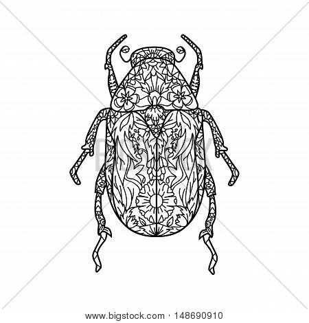 Bug Vector illustration in Zentangle style. Contour drawing. Illustration for coloring book. Stock vector.