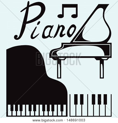 Grand piano. Isolated on blue background. Vector silhouettes
